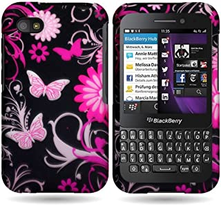CoverON Slim Hard Case for BlackBerry Q5 with Cover Removal Tool - (Pink Butterfly)