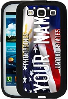 BRGiftShop Personalize Your Own Mixed USA and Philippines Flag Rubber Phone Case For Samsung Galaxy J3 2016