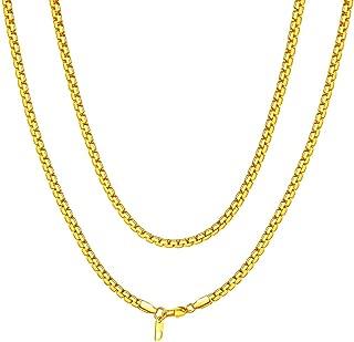 Joyer/ía para Hombre Plateada Oro del Acero Inoxidable del Faux Betued Cadena Oro Hombre Cadena Oro Hombre Cuello Hombres Collar Plateado Oro de la Moda del Collar 18k