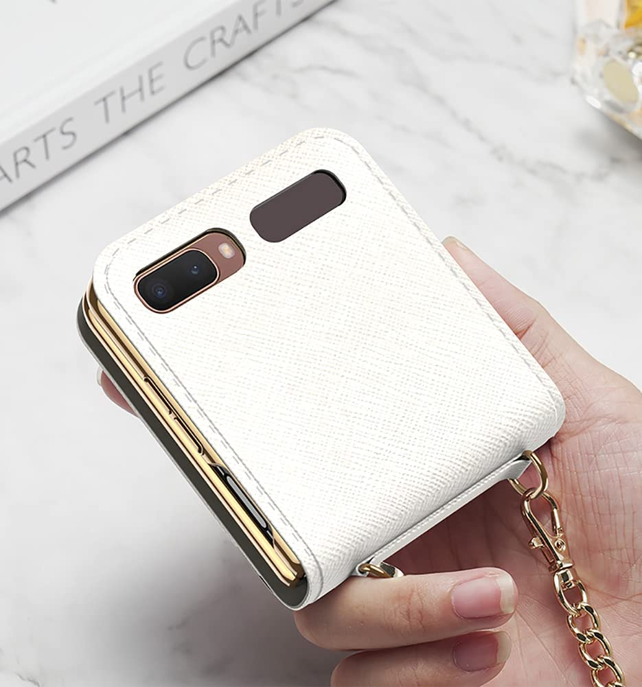 Yatchen Leather Case Designs Samsung Galaxy Z Flip,Cute Luxury Card Package with Metal Chain for Women Makeup Mirror Magnetic Flip Protector for Galaxy Z Flip 5G (White)