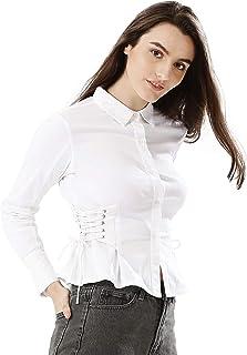Koovs White Shirt Neck Shirts For Women