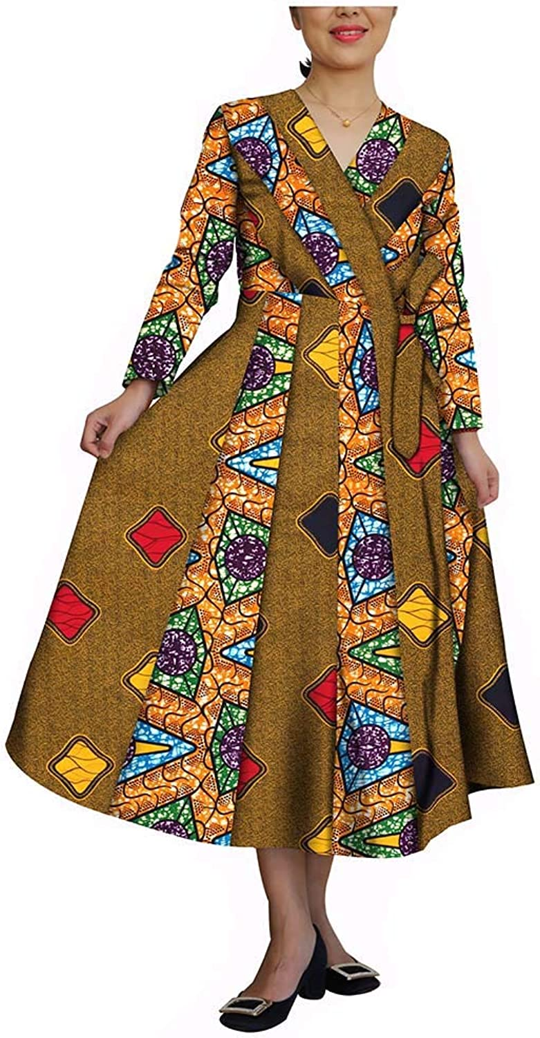 African Dresses for Women Party Wear Wax Print Ankara colorful Dashiki Clothing Beige