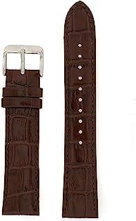 Seiko Genuine Textured Brown Leather Alligator Grain 20Mm Watch Band - Brown 20Mm Silver Tone Regular