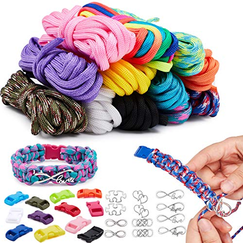 vamei Paracord Bracelets Kit with 12 Paracord Ropes, 12 Buckles, 12 Charms, Parachute Bracelet Rope Outdoor Survival Rope Bracelets Making Kit DIY Craft Tool Sets