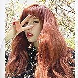 WIG MINE Peluca coreana naranja rojo pelo largo y rizado aire franja pelo largo medio despedida mull...