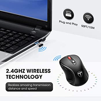 VicTsing Wireless Mouse for Laptop, 2.4G Portable USB Mouse Computer Mouse, Fit Hand Nicely, 5 Adjustable DPI, Page D...