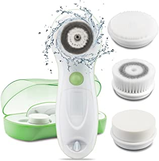 TOUCHBeauty 3IN1 Face Brush Set [FDA Certification] with 3 Spin Cleansing Brushes, Deeply Cleanse Pores for All Skin Sensitive type  Waterproof, Travel Case, Dual-Speed, Battery Powered