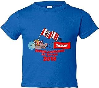 Camiseta niño Atlético de Madrid supercampeones Tallin 2018 Supercopa de Europa - Azul Royal, 12-18 meses