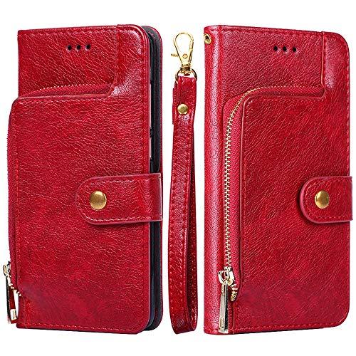Forhouse SamsungGalaxyM10 PU Hülle,Ledertasche Hülle, Premium PU Leder Schutzhülle Flip Magnet Brieftasche Kartenfach Schlanke stoßfest Schutzhülle für SamsungGalaxyM10 PU (Red)