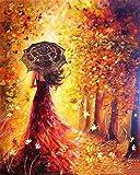 Fuumuui DIY preimpreso Lienzo Regalo de Pintura al óleo para Adultos niños Pintura por número Kits con Marco de Madera para la decoración casera -Vestido Rojo Chica 16 * 20 Pulgadas