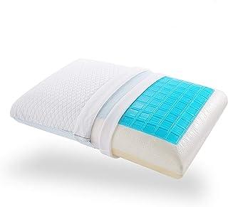 Nesaila Almohada de espuma viscoelástica, almohada de gel de refrigeración para dormir boca abajo, funda de almohada extraíble lavable (blanco)