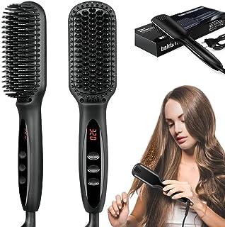 برس صاف کننده موی شانه ای گرم ، برس صاف کننده حرفه ای آهن یونی با 12 سطح حرارتی ، گرمایش سریع سرامیکی MCH 30s سریع ، مناسب موهای ابریشمی بدون وز ، ضد جوش