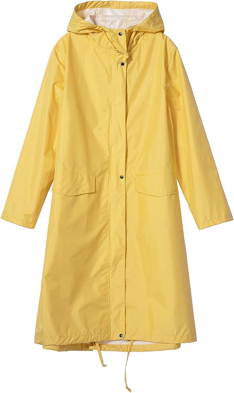Womens Stylish Long Raincoat Rain with Zipper Jacket Hood Free shipping Max 57% OFF New Button