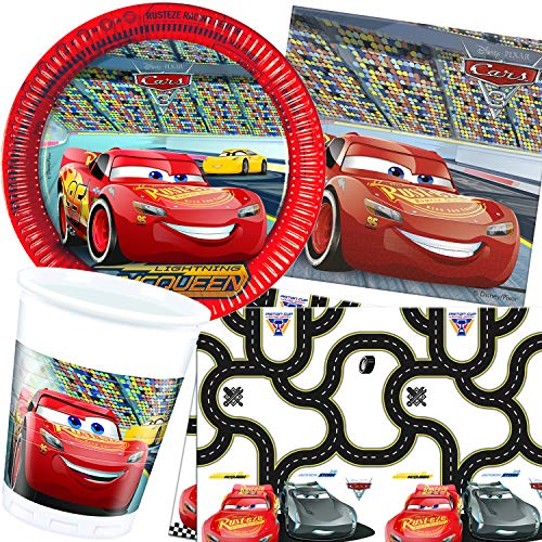 Procos/Carpeta 62-TLG. Party-Set * Cars 3 * mit Teller + Becher + Servietten + Tischdecke | Deko Kinder Geburtstag Motto Disney Auto Rennauto Film Lightning McQueen