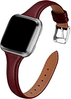 WFEAGL for Fitbit Versa Band, Top Grain Leather Band Slim & Thin Narrow Small Replacement Wristband Strap for Fitbit Versa/Versa 2 /Versa Lite/Versa SE Fitness Smart Watch (Wine Band+Silver Buckle)