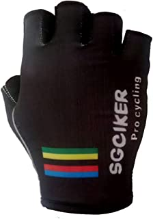 SGCIKER Cycling Gloves Pro Team Championship Black Gel Shock Absorption Black Summer Half Finger Bike Gloves Size m-XL