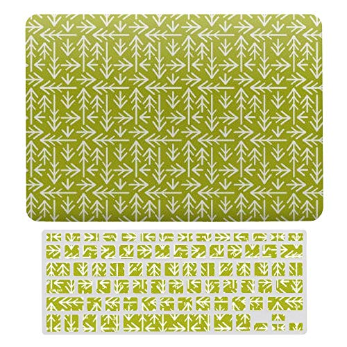 MacBook Pro 13 inch Case 2020 2019 2018 2017 Release A2159 A1989 A1706, Plastic Hard Protective Laptop Case Shell With Keyboard Cover, Green Arrows