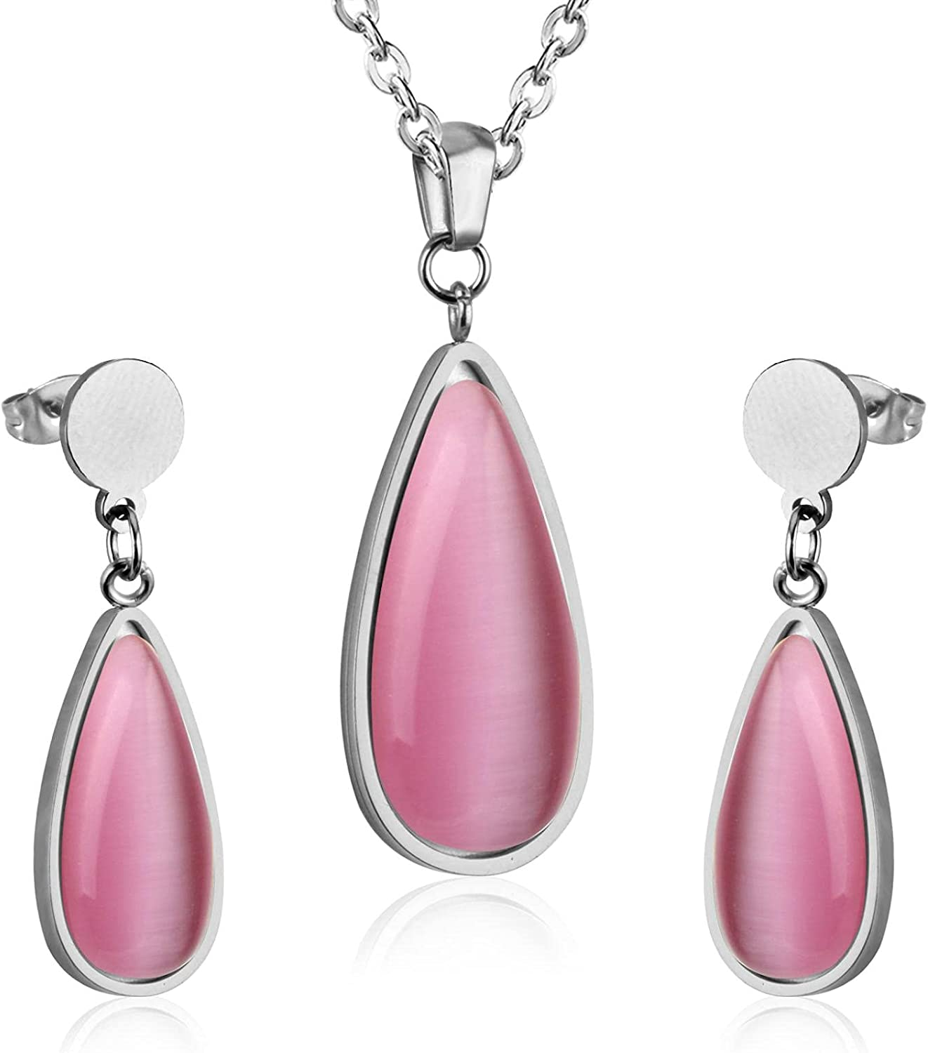 Opals Pendant Necklace Stainless Steel Jewelry Sets Fashion Drop Earring Party