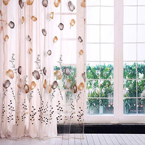 Cortinas de tul de 100 x 200 cm, coloridas con impresión de tulipanes, cortinas para balcón, sala de estar, dormitorio, cocina, decoración (naranja)
