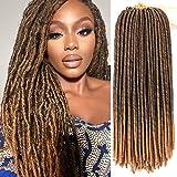 7 Packs 18 Inch Dreadlocs Faux Locs Hair Extensions Straight Goddess Locs Synthetic Crochet Hair Soft Crochet Braids (18 Inch, T1B/27#)