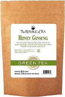 The Republic of Tea Honey Ginseng Green Tea, 50 Tea Bags, Relaxing Chinese Green Tea Gourmet Blend