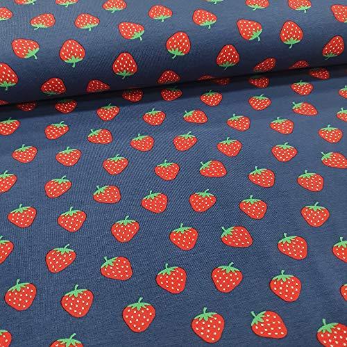 Schickliesel Jersey Stoff Meterware Erdbeeren dunkelblau