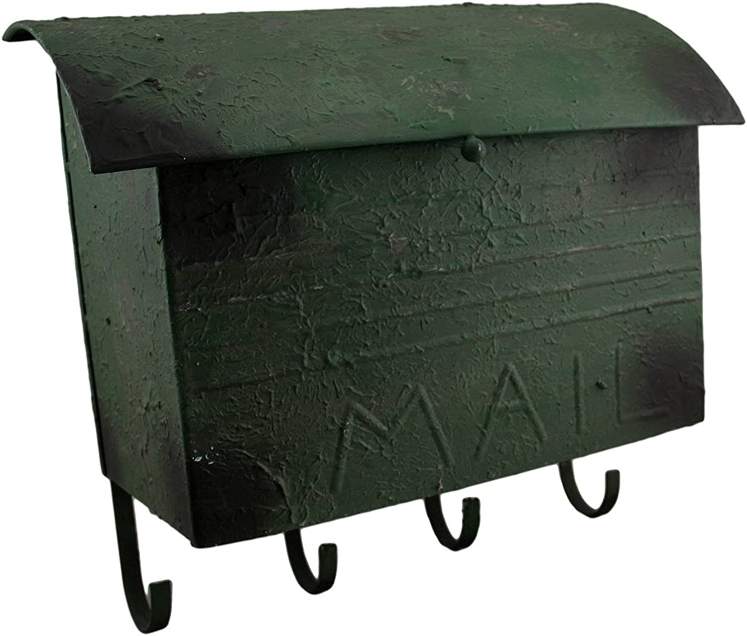 Rustic Green Vintage Style Metal Mailbox Decorative Wall Hook Hanging 16 Inch