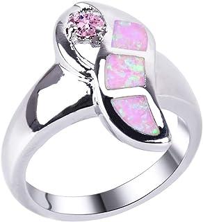 Anelli da donna KELITCH per ragazze Anello semplice opale bianco unisex 31B-6