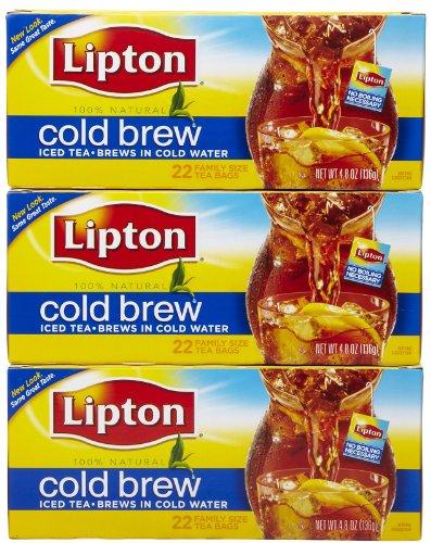 Lipton Black Tea Bags, Cold Brew, 22 ct, 3 Pack