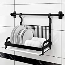 Stainless Steel Black Drain Dish Storage Rack | Wall-Mounted Kitchen Pendant - with Cross Bar, Drain Pan for Kitchen, Storage