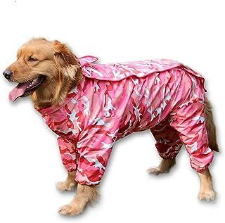 BBEART Dog Raincoat, Fashion Four-Legged Hooded Pet Raincoat Rain Jacket Jumpsuit Rain Poncho Coat Slicker Camouflage Long Sleeves Rainproof Clothes for Small Medium Large Dogs Cool
