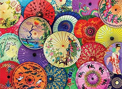 Bzdthh Puzzle Classici Puzzle in Legno Puzzle 1000 Pezzi Ombrelli asiatici di Carta per Olio del Manifesto del Paesaggio Adulti Alta Puzzle Difficile Giocattoli assemblati Fai da Te