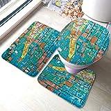 Juego de alfombras de baño Viejas grietas de pintura amarilla turquesa colorida Conjuntos de alfombras de baño antideslizantes, cubierta de almohadilla de baño Alfombrilla de baño y tapa de inodoro
