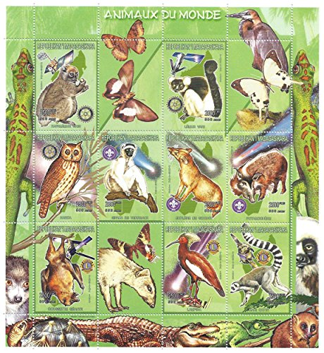 Dieren van de wereld grote verzamelbare natuur en wildlife stempel blad met vogels, zoogdieren, reptielen en insecten / 12 stempels/Madagaskar