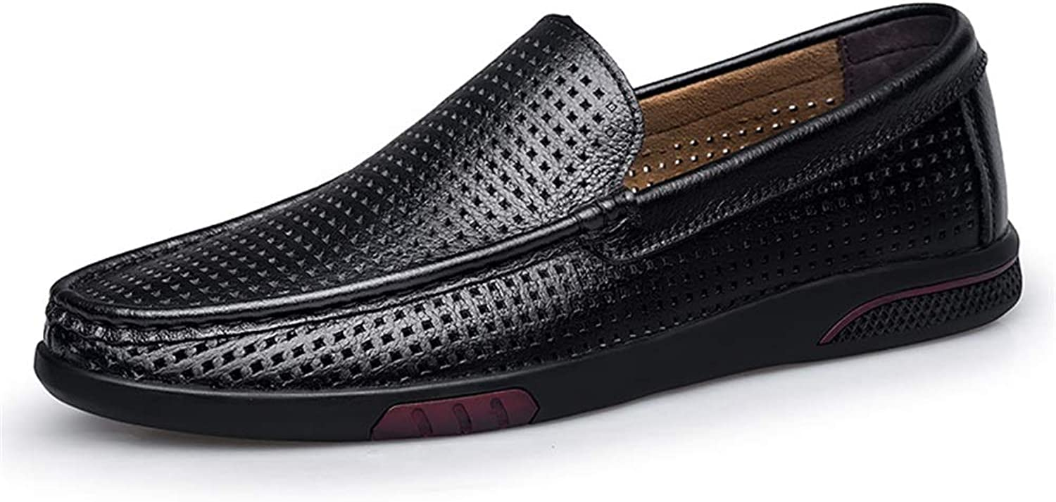 Easy Go Shopping shoes For Men Oxford Formal shoes Slip On Mesh Fabric Material Round Toe shoes with Breathable Hollow Vamp Cricket shoes (color   Black, Size   7.5 UK)