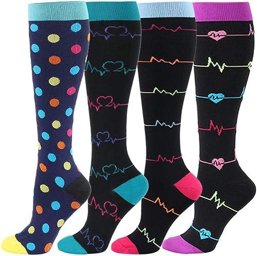 HLTPRO Compression Socks for Women and Men - 4 Pairs 20-30 mmHg Support Knee High Compression Socks for Travel, Fligh...