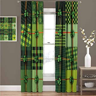 GUUVOR Irish Heat Insulation Curtain Patchwork Style St. Patricks Day Themed Celtic Quilt Cultural Checkered with Clovers for Living Room or Bedroom Curtain 72