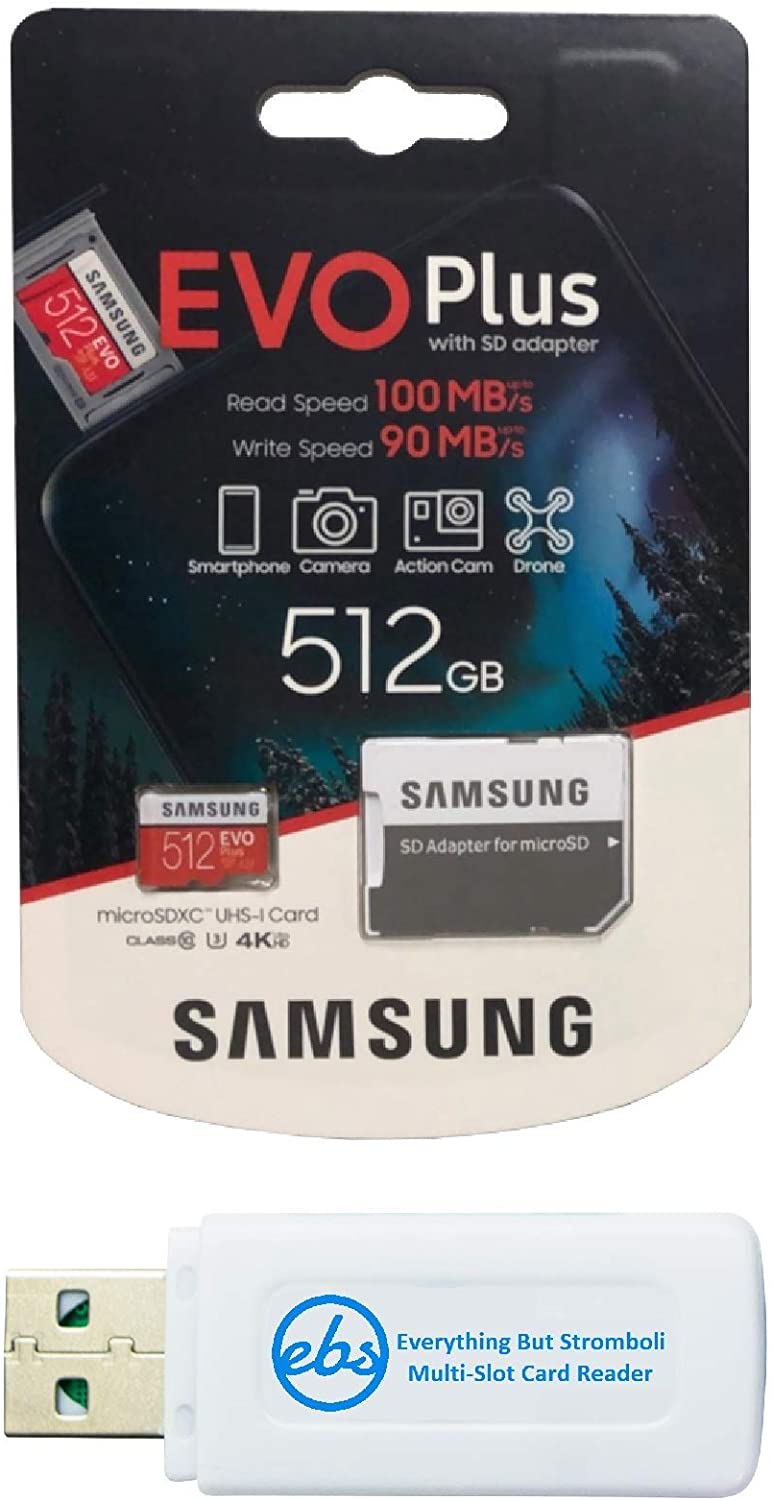 Samsung Evo Plus 512GB Micro SDXC Memory Card Class 10 Works with Android Phones - Galaxy A51, A50, A40, A30 (MB-MC512) Bundle with (1) Everything But Stromboli MicroSD & SD Card Reader