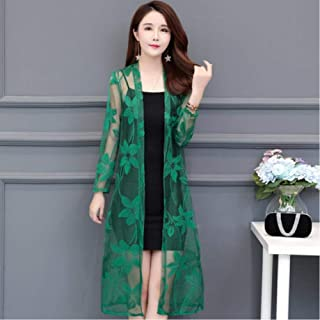 Summer Lace Cardigan Women Shawl Hollow Out Sun Protection Clothing Plus Size Vintage Thin Ladies Jacket Fashion Long Black Coat