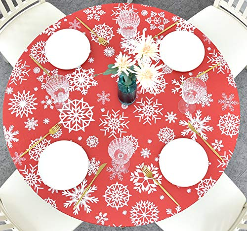 Rally Home Goods Indoor Outdoor Patio Round Fitted Vinyl Tablecloth, Flannel Backing, Elastic Edge, Waterproof Wipeable Plastic Cover, Red Snowflake Christmas for 5-Seat Table of 36-42'' Diameter