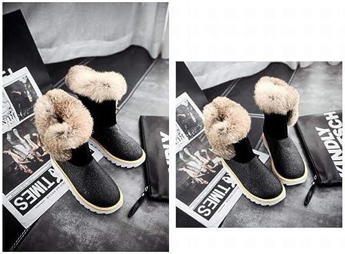 ZHRUI Stiefel para damen - Stiefel para la Nieve de Tubo Corto Antideslizante Femenino Stiefel de algodón Planas schuhe de Invierno para damen 34-43 (Farbe   schwarz, tamaño   41)