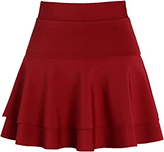 Women's Stretched Versatile Flare Tiered Skater Skirts with Shorts