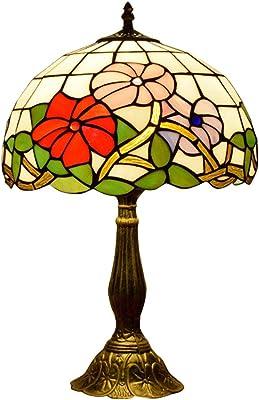 E27 Antiguo Estilo Tiffany Vid Y Hoja Flor Lámparas De Mesa ...