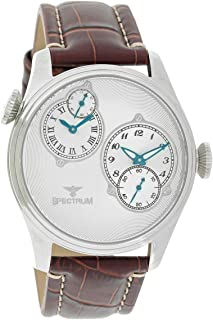Spectrum Men's Silver Case Silver Dial Dual Time Dress Watch