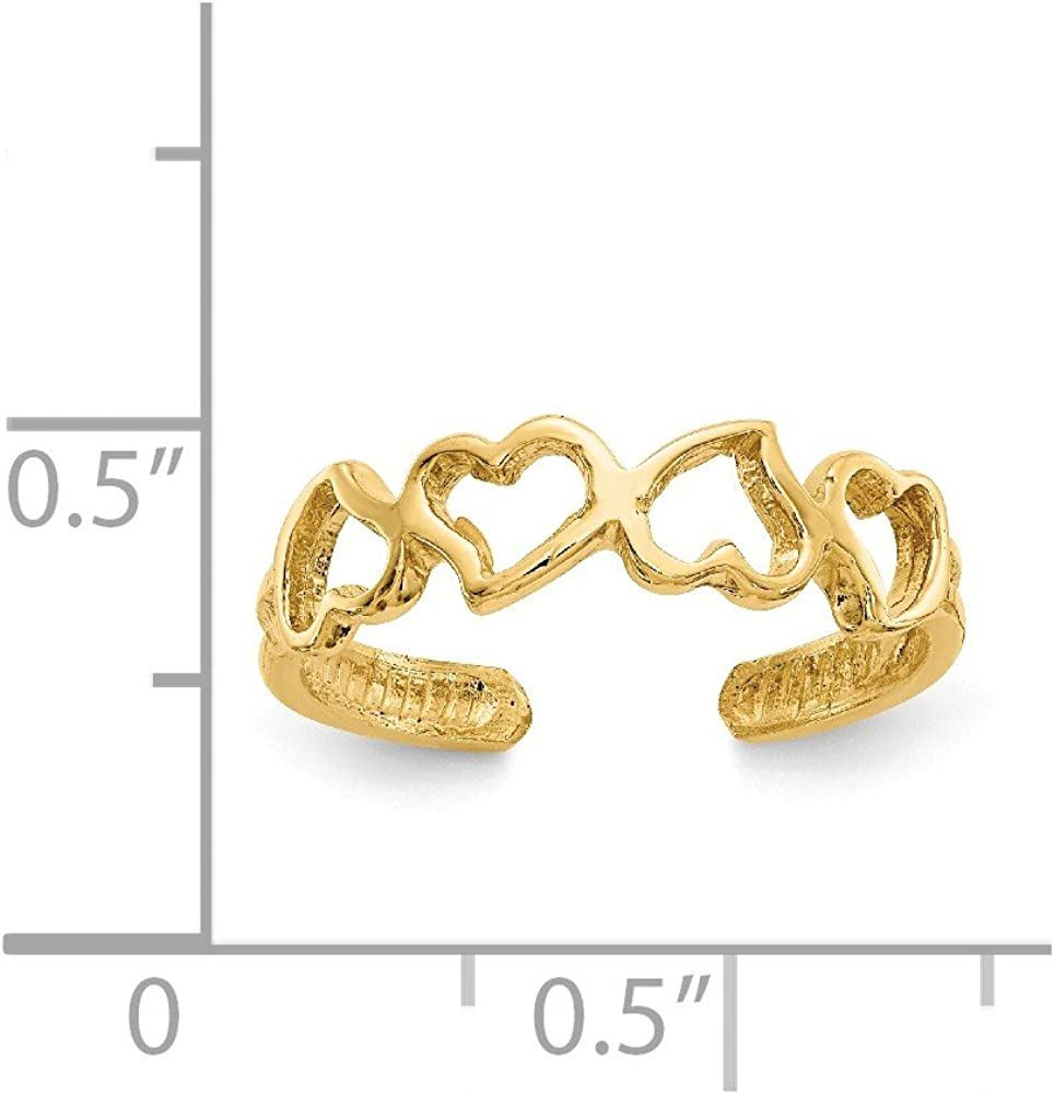 Solid 14k Yellow Gold Heart Toe Ring Adjustable