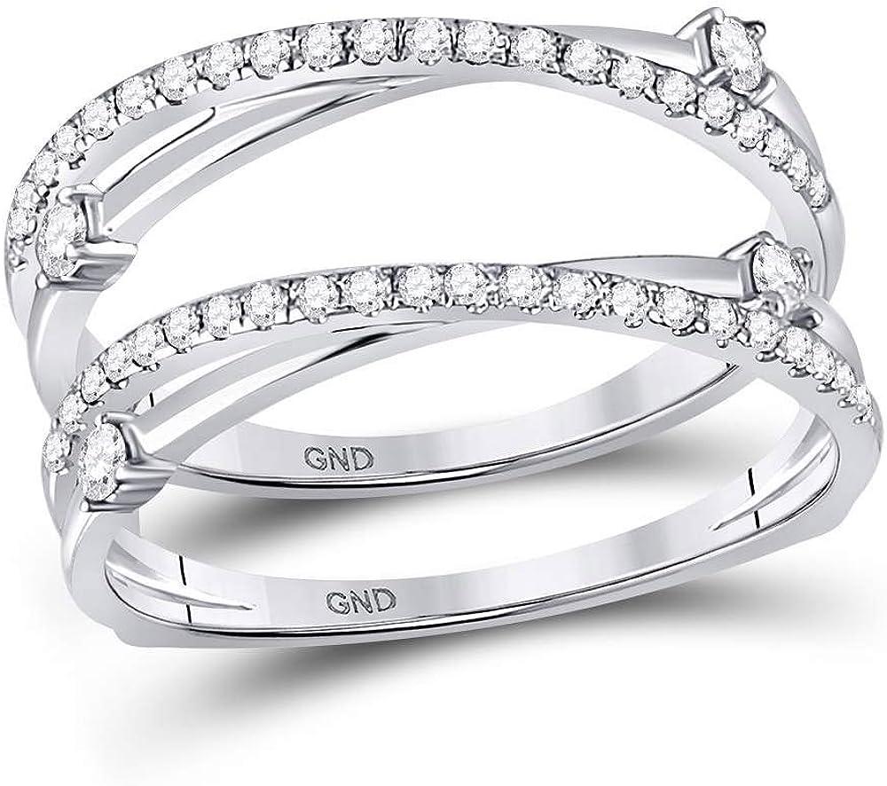 14kt White Gold Womens Round Diamond Wedding Wrap Ring Guard Enhancer 3/8 Cttw