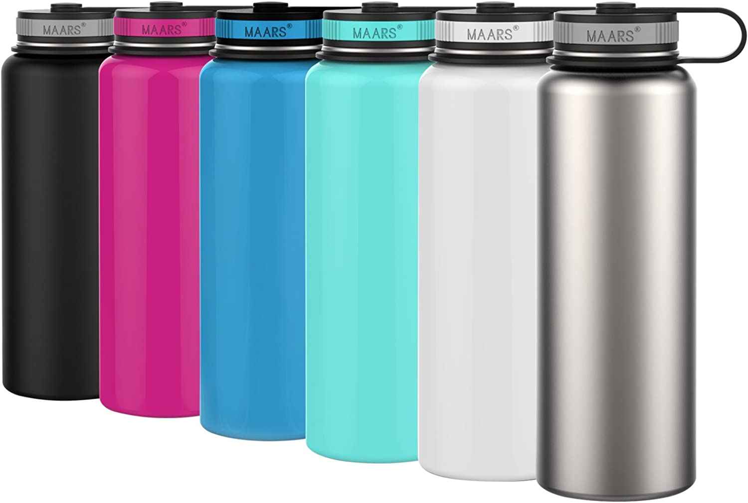 Maars Eddy Wide Mouth Double Wall Vacuum Insulated Stainless Steel 40 oz. Sports Water Bottle