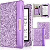 DMLuna Case for Kindle Paperwhite(Fits All-New 10th Generation 2018 / All Paperwhite Generations), Folio Premium PU Leather Case Auto Wake Sleep Cover with Hand Strap and Card Slot, Glitter Purple
