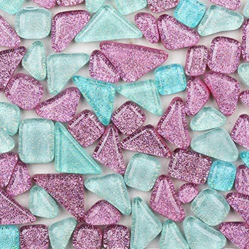 Azulejos de mosaico de colores mixtos irregulares, cuadrados y triangulares con purpurina, mosaico de cristal para manualidades, decoración de manualidades, 200 g (brillante)