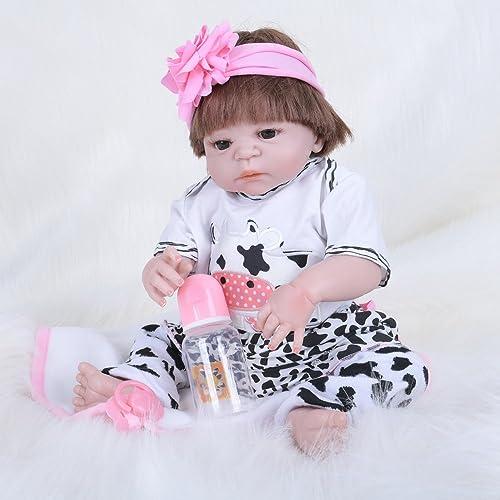 JHGFRT Reborn Baby Puppe Simulation Silikon Alle Kunststoff Neugeborenen Baby braun Augen Kind Früherziehung Spielzeug Geschenk 55 cm,55cm